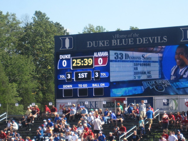 score of the duke football game football american