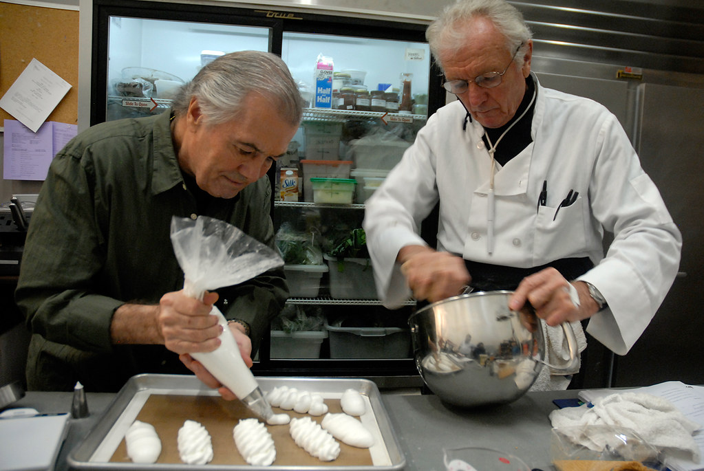 Jacques Pepin and Jean-Claude make pastries in back kitche ...