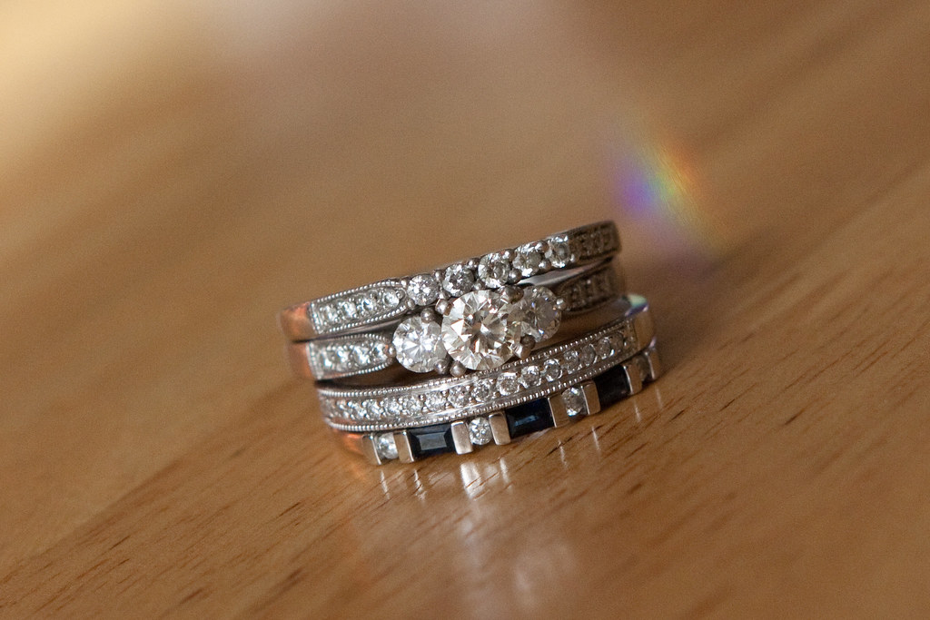 My wedding set and anniversary bands too bad i can t wear u flickr