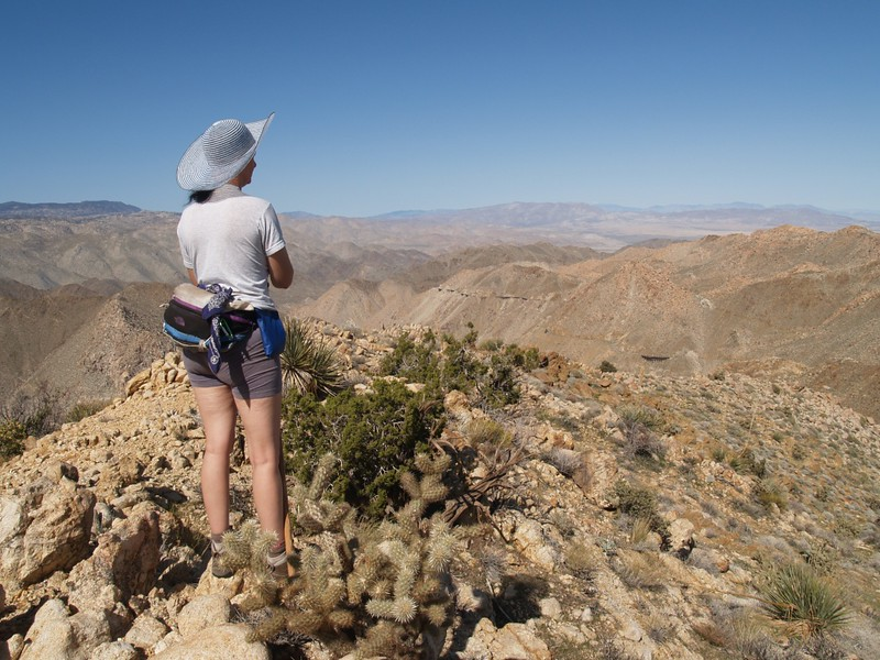 Vicki on the ridge and our awesome lunchtime view over the desert