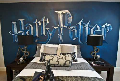 Harry potter mural room harry potter childrens mural for Harry potter cuartos decoracion