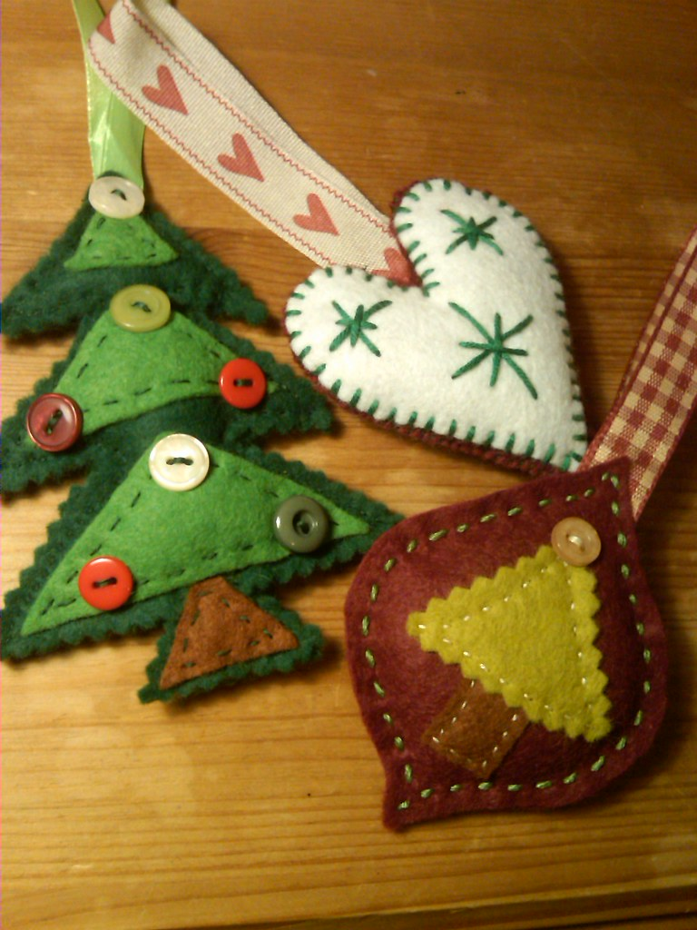 christmas tree decs three hand stitched christmas tree