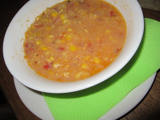 Corn and Sundried Tomato Soup | by veganbackpacker