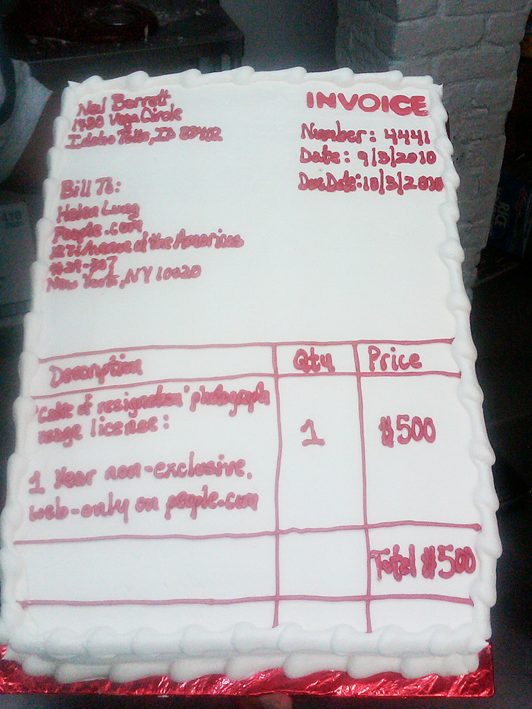 Invoice Cake To People Com Today I Sent An Invoice On A