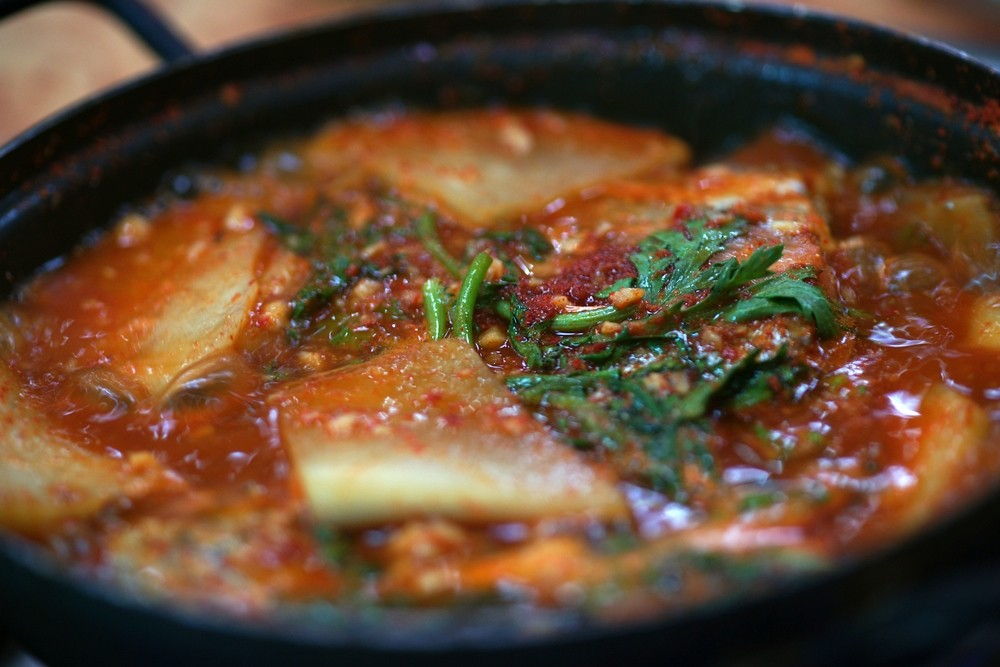 Maeuntang spicy fish soup stew consisting of seasonal for Spicy fish soup