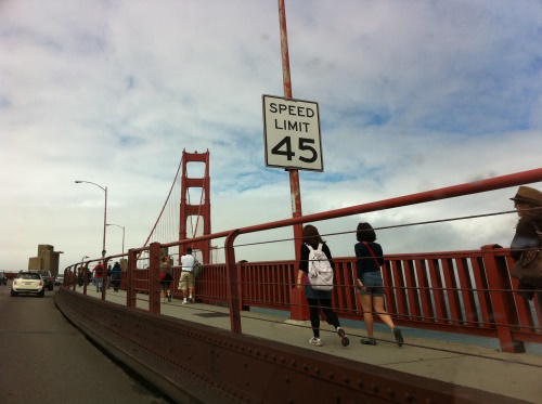 People Walking on the Golden Gate Bridge | You can see the ...