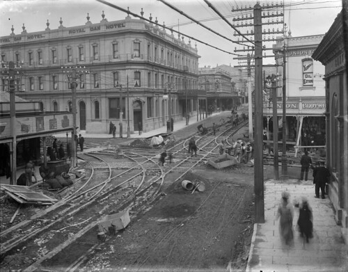 Corner of Cuba and Manners Streets, Wellington, showing men working on tram lines, 1903 | by National Library NZ on The Commons