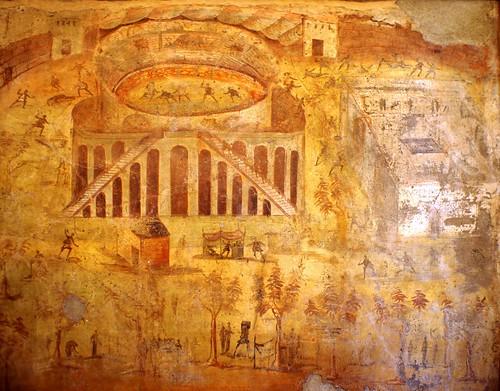 Pompeii painting Riot during Amphitheatre games 59AD, led ...