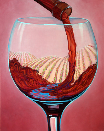 """...and Let There Be Wine!"" 30x24 acrylic ©Sandi Whetzel 