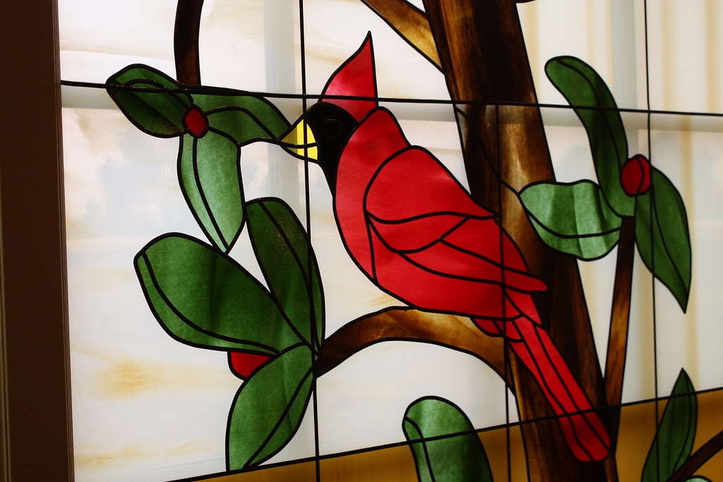 Stained Glass Cardinal Picture Of A Stained Glass Window