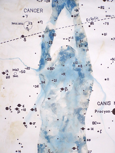 Visualizing Feeling: Drawing from the body, 2010 Pencil,cyanotype and ink on paper with astronomical data. | by Russell Moreton