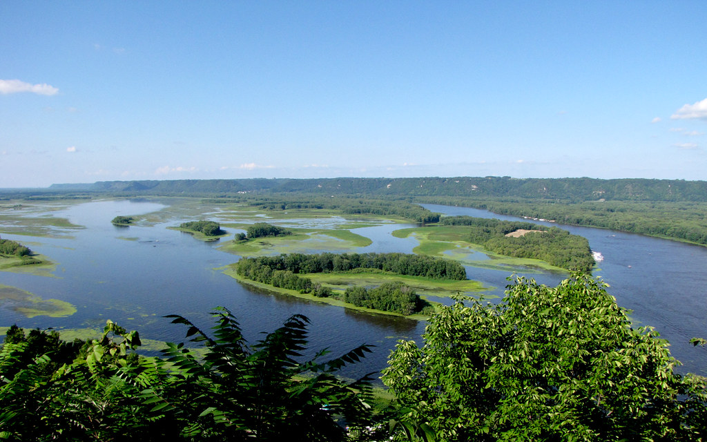 Mississippi River at Lansing, Iowa | This the view of the ...  River