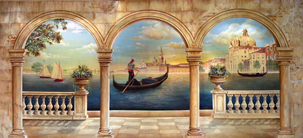 Venice at dusk trompe l 39 oeil 9 39 x 19 39 acrylic on canvas - Sticker trompe l oeil mural ...