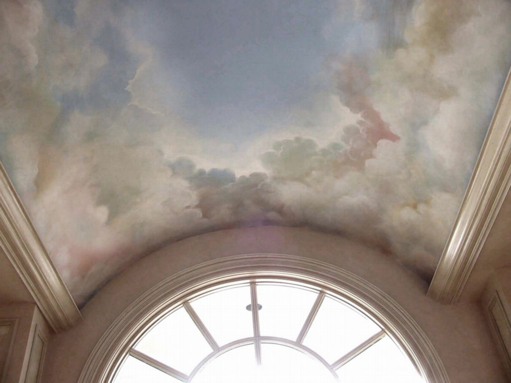 Barrelvault sky mural a soft lovely sky with billowy for Ceiling cloud mural