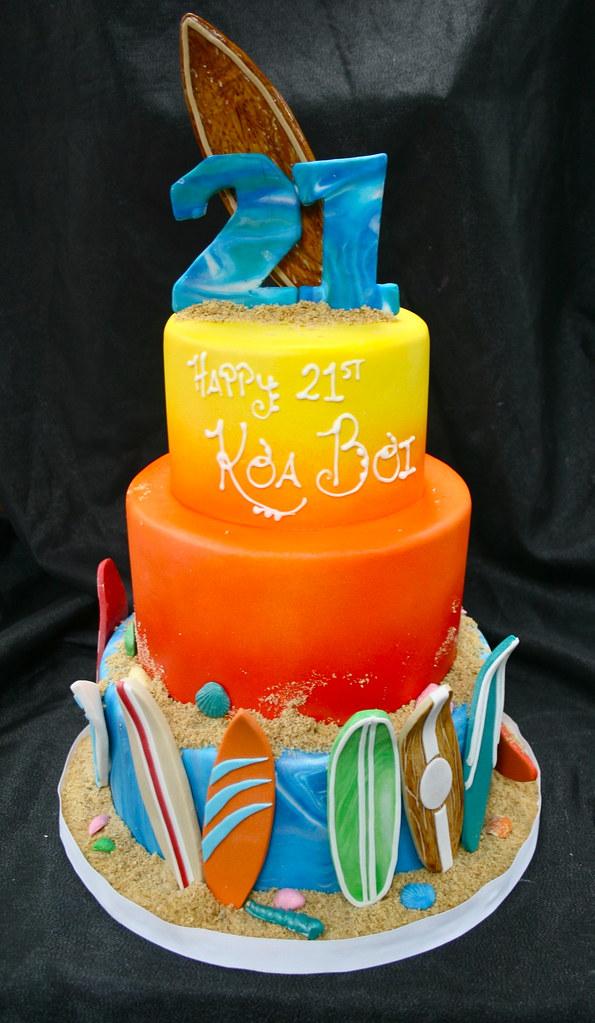 Surfing themed Birthday cake   Gimme Some Sugar (vegas