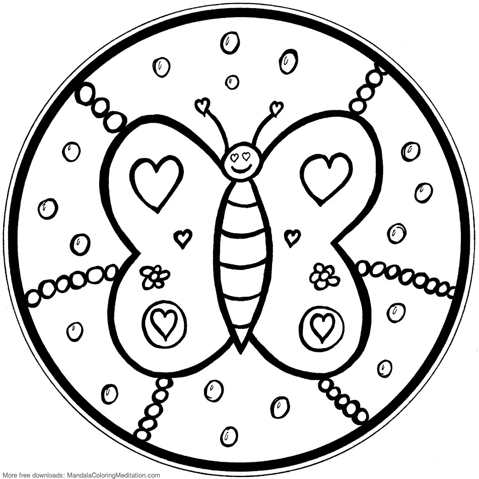 printable children coloring page butterfly mandala by mandala coloring pages - Children Coloring Pages