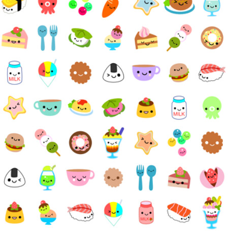 yummy foods spoonflower kawaii contest entry | Here's my ...