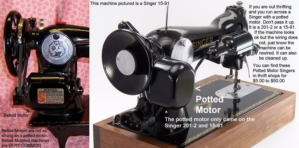 Belted Motor And Potted Motor Potted Motor Machines Are Hi Flickr Unique Singer Sewing Machine Model 15 91 Value