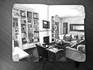 Our living room pen drawing drawn with a penstix 3013 for Pen y bryn living room