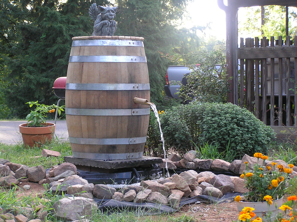 Barrel Fountain Another Use For A Used Wine Barrel
