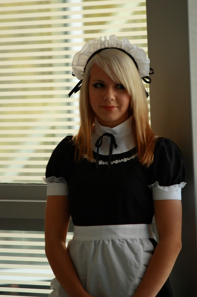 Maids blonde on bed
