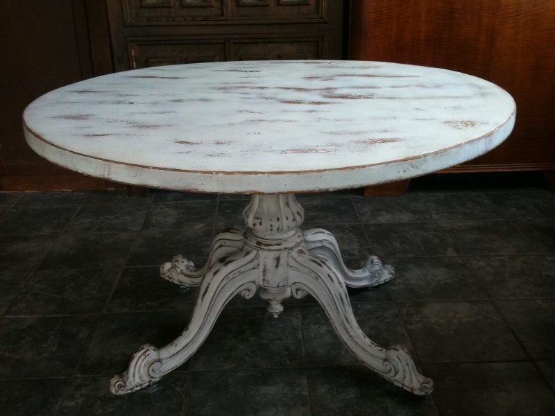 Anitque White Shabby Chic Round Dining Table Antique
