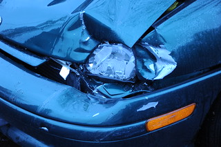 Housemate's fender bender, blue Neon, frontend accident, lamp, Seattle, Washington, USA | by Wonderlane