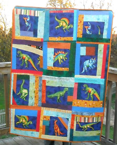 blue/orange dino charity quilt | by vickivictoria