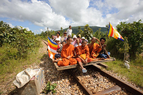 Monks on Cambodian Bamboo Railway Car | by goingslowly