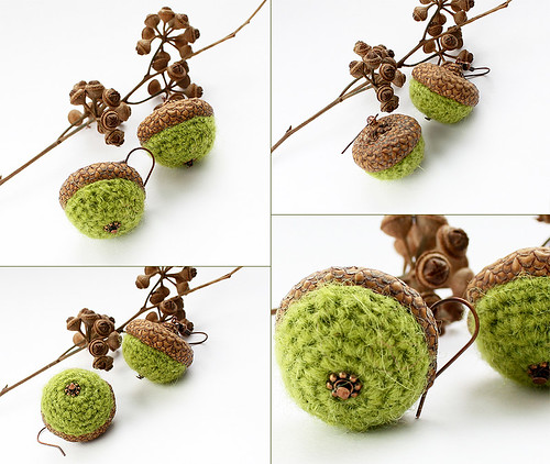 Crocheted green earrings in a form of acorn | by Julia Kolbaskina