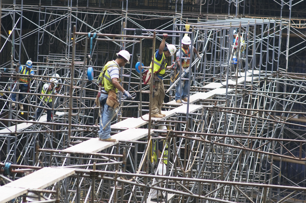 Contractors Work To Disassemble Scaffolding At Fort Belvoi