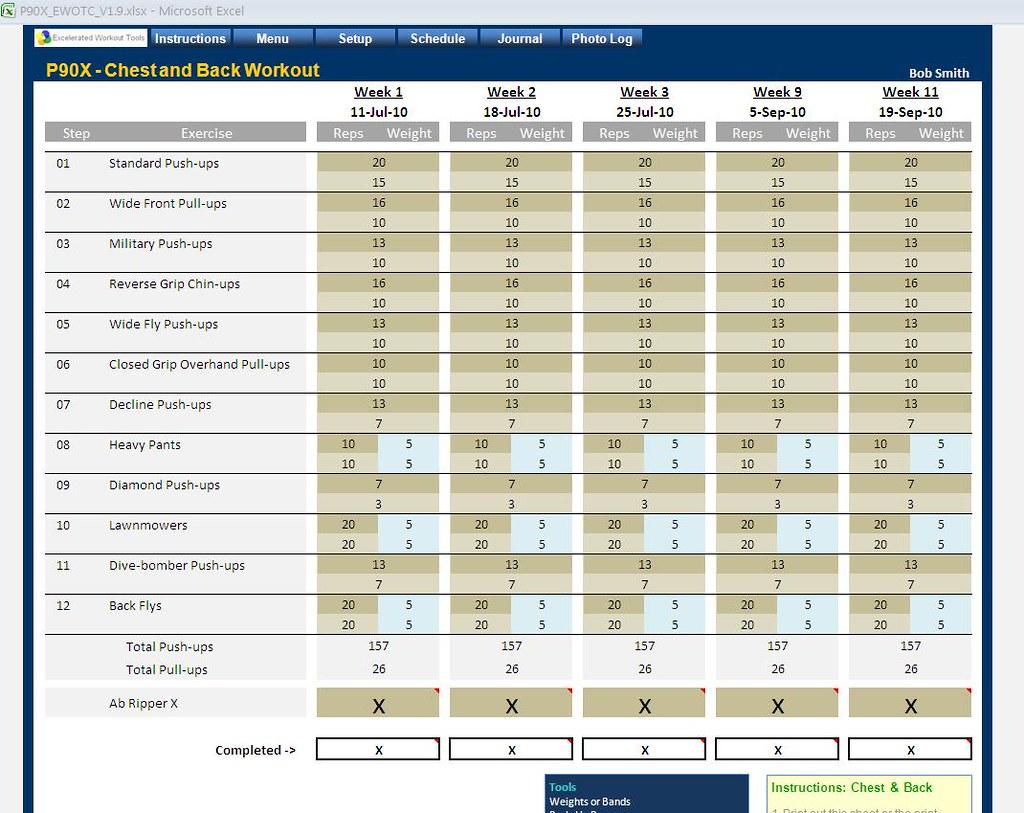 P90x2 Workout Schedule Spreadsheet