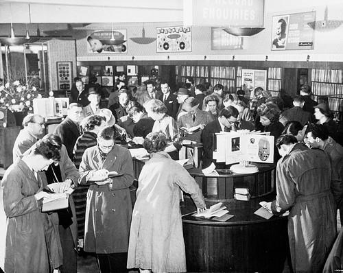 hmv 363 Oxford Street, Lodon - customers in store 1940s