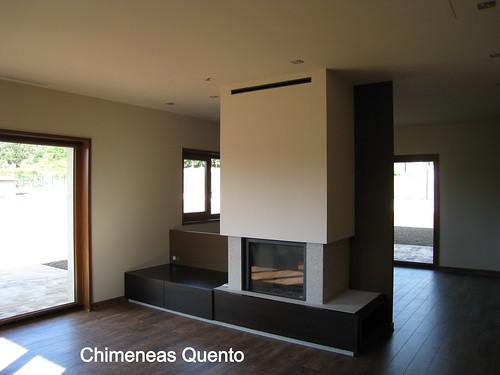 Chimenea quento con stuv 21 95 doble cara y base en madera - Chimeneas quento ...