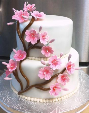 Cherry Blossom Baby Shower Cake