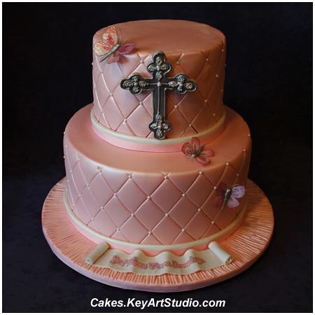 Cake Images For A Girl : Pink Satin Baptism Cake for a Girl cakes.keyartstudio ...