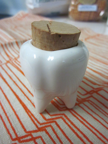 Ceramic tooth container Raoul gave me for my birthday! | by sugar-cookie