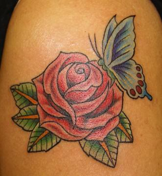 butterfly rose tattoo by chris posey southside tattoo flickr. Black Bedroom Furniture Sets. Home Design Ideas