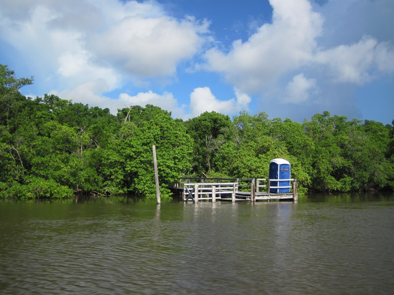 The dock and camping platform (called a chickee) at Sandfly Island.