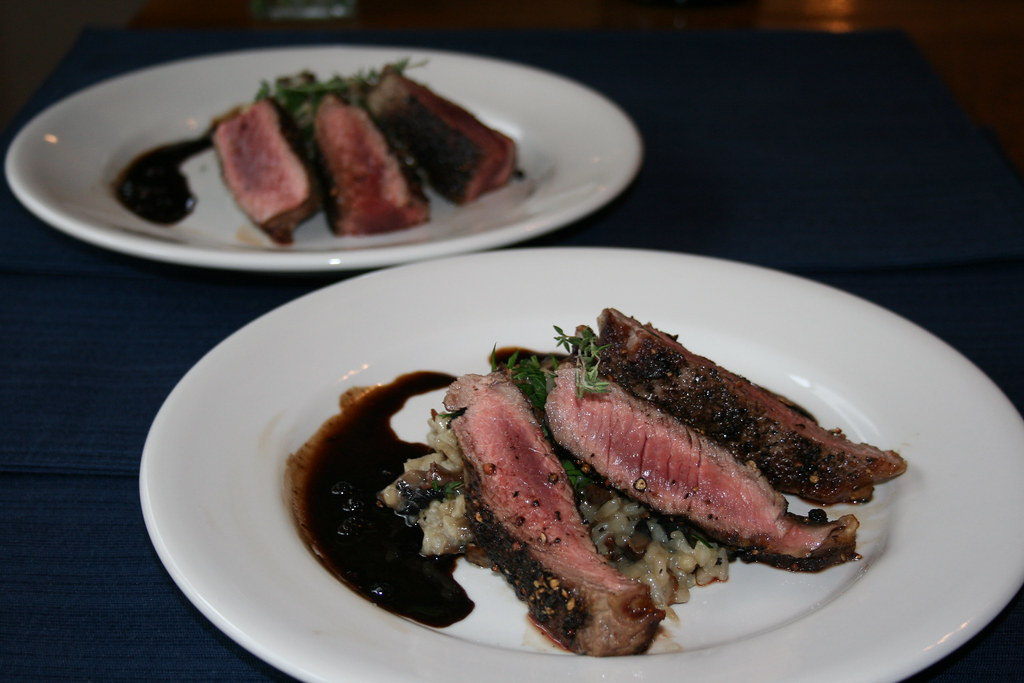 Rib Eye Steak Au Poivre with Balsamic Reduction and Mushro… | Flickr