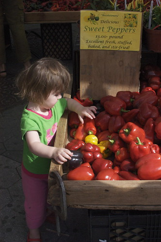 Lu examines the peppers | by shauna | glutenfreegirl