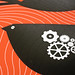 Detail of the birds, gears, and overprinted black ink, Ra Ra Riot poster