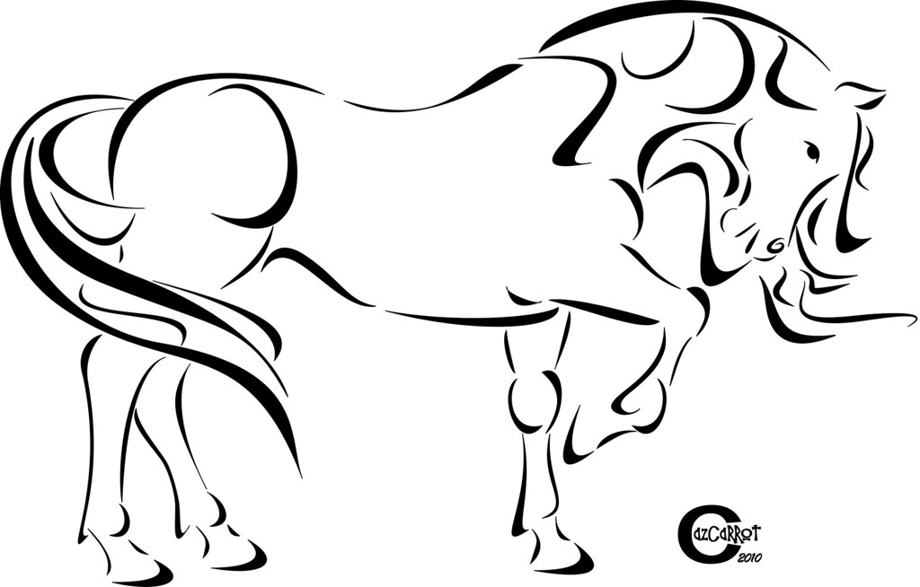 Line Drawing Horse Tattoo : Tribal horse simple line drawing of a in