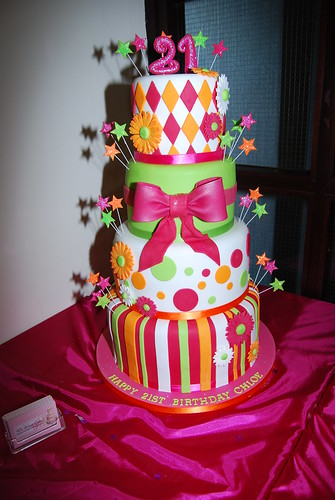 4 Double Tier Birthday Cake Each Tier Was Cake Witha 3