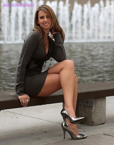 Layered shiny nylons pantyhose high heel pumps freehand joi 3