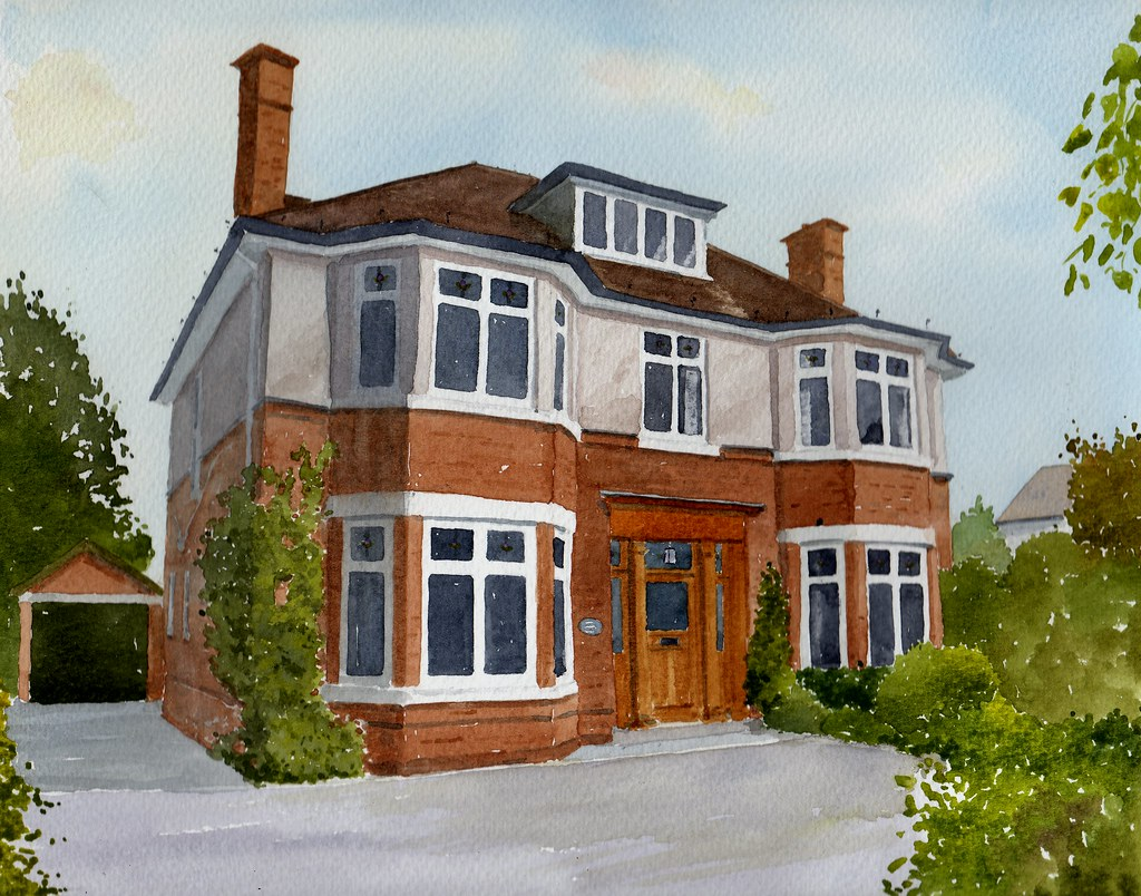 Cheshire house in watercolour ordered as a surprise gift for Chesire house
