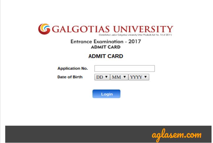 Galgotias Universty Entrance Exam 2018 Admit Card