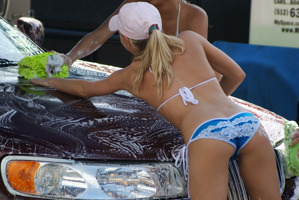 Teens washing cars, gorgeous girls having long and giant squirts