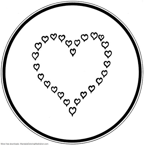 printable children coloring page  heart mandala 5
