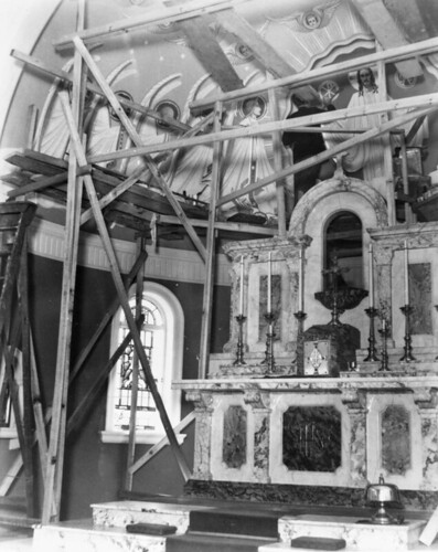 James Wieneke at work on the fresco at St Joseph's Church, Kangaroo Point, ca. 1948 | by State Library of Queensland, Australia